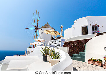 View of Fira town - Santorini island,Crete,Greece. White...