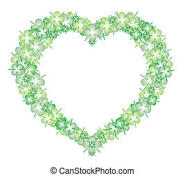 Heart lucky four leaf clover - vector format, object...