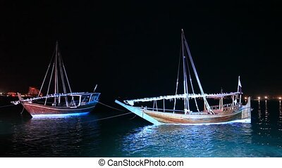 Dhows at night. Doha, Qatar - Traditional arabic dhows at...