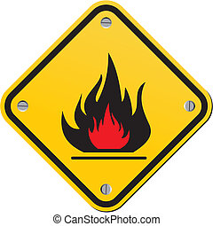 flammable warning sign - suitable for warning signs