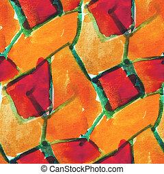 amarela, aquarela, seamless, vermelho, Cubismo, fundo