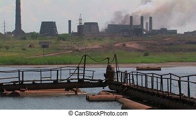 Metallurgical powerful factory. - Industrial area....