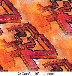 aquarela, seamless, amarela, vermelho, Cubismo, fundo