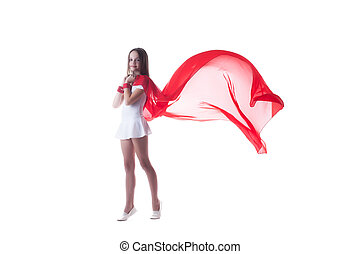 Smiling graceful little dancer isolated on white - Image of...