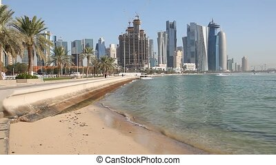 Beach in Doha Corniche, Qatar - Beach at the Doha Corniche,...