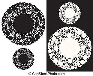 Vintage Lace Doily Place Mats, floral pattern, black, white,...