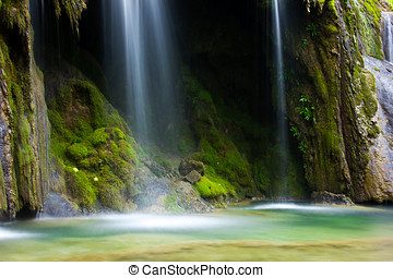 Cascade in wild forest area