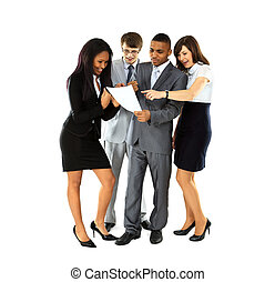 Full length of successful business professionals discuss...