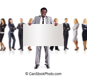 African business man and group holding a banner ad, full...
