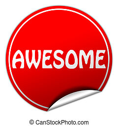 AWESOME round red sticker on white background
