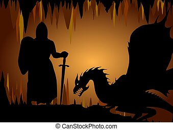 Knight and Dragon - Illustration of a dragon and knight...