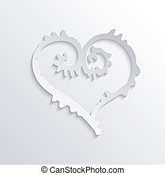 Abstract Vector White Heart in Flat Design Style on Grey...