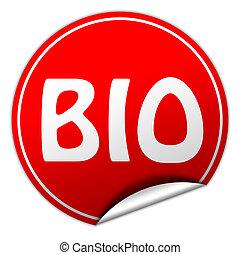 bio round red sticker on white background