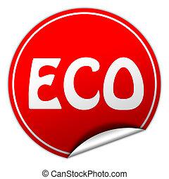 ECO round red sticker on white background