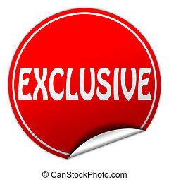 EXCLUSIVE round red sticker on white background