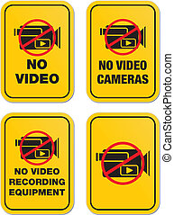 no video signs - yellow signs - suitable for warning signs