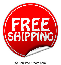 Free shipping round red sticker on white background