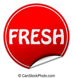 fresh round red sticker on white background