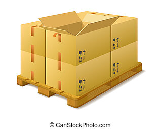 Cardboard boxes on a pallet in stock.