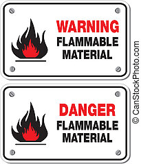 warning flammable material - suitable for warning signs