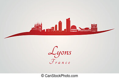 Lyons skyline in red and gray background in editable vector...