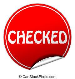 checked round red sticker on white background