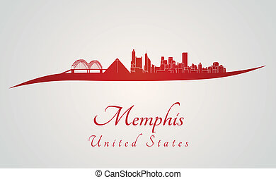 Memphis skyline in red and gray background in editable...