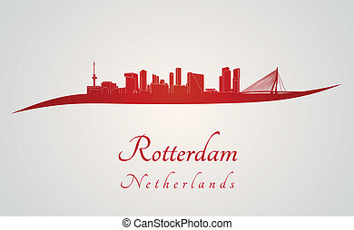 Rotterdam skyline in red and gray background in editable...