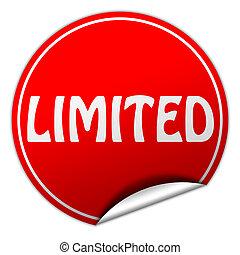 limited round red sticker on white background