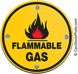 round sign - flammable gas sign