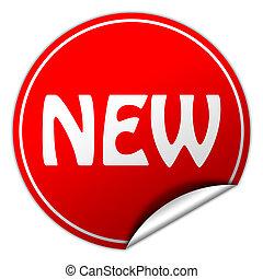 new round red sticker on white background