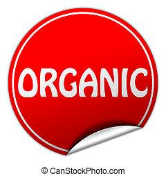 organic round red sticker on white background