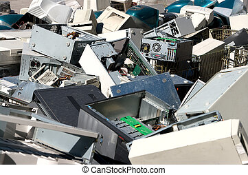 Computer parts recycling - A pile of dismantled computer...