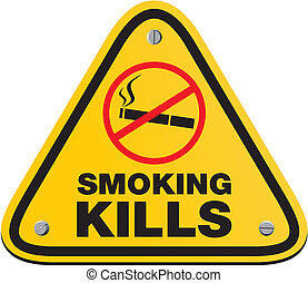 smoking kills - yellow signs - suitable for warning signs