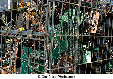 Circuit board recycling - Pile of circuit board for...