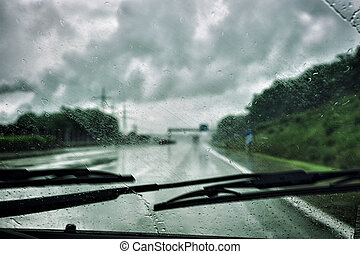 Driving in the rain - Driving car in the rain