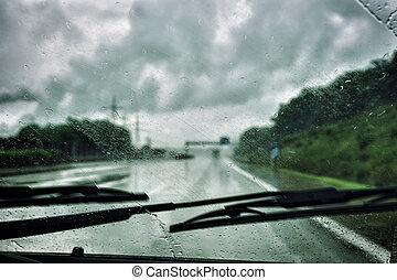 Driving in the rain - Driving car in the rain