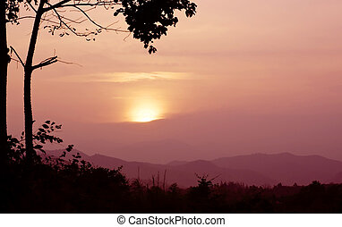 Sunset in the mountain landscape, Thailand.