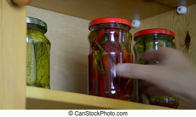 shelf jars - hand put small jars on the shelf next to other...