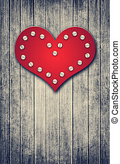 grunge valentine background with red heart - grunge wooden...
