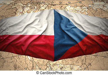 Poland and Czech Republic - Waving Polish and Czech flags of...