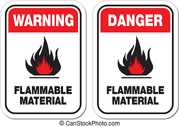 danger flammable material signs - suitable for warning signs