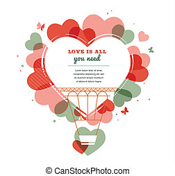 Love background - heart shape hot air balloon - Love vector...