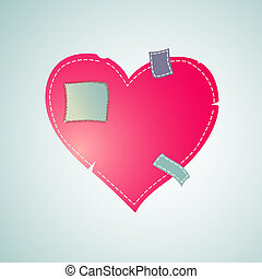 Heart patched with sewn thread, vector illustration