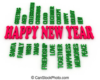 3d imagen Happy New Year in tag cloud