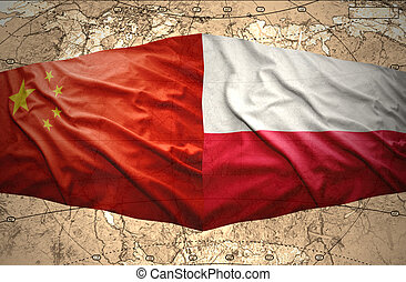 Poland and China - Waving Polish and Chinese flags of the...
