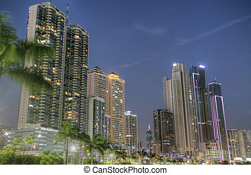 Modern buildings in Panama City with high skyscrapers in the sunset