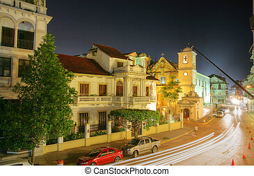 Panama City, Casco Viejo in the night