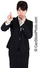 Thoughtful businesswoman pointing - Thoughtful asian...