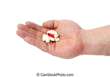 Hand and pill Medical capsule on white background